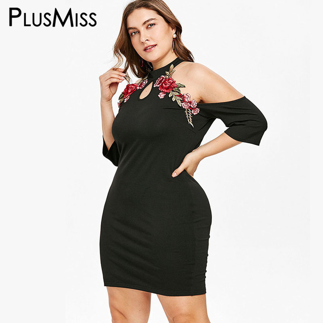 d17cad3790b PlusMiss Plus Size 5XL XXXXL XXXL Floral Embroidery Halter Dress Women Off  Shoulder Bodycon Mini Short Club Party Dress Big Size
