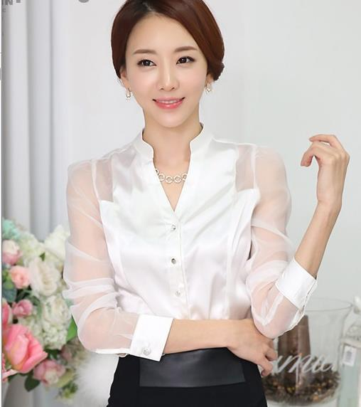 Online Buy Wholesale long sleeve white satin blouse from China ...