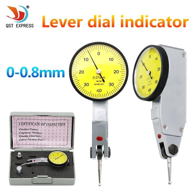 Qstexpress 0-0.8mm dial indicador de prueba 0.01mm dial indicador dial gauge indicador