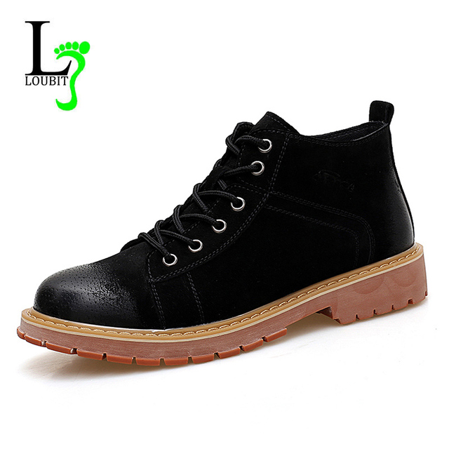 186ab077545 Fashion Men Boots Winter With Fur Flats Autumn Casual Shoes Men Genuine  Leather Ankle Boots Warm Work Shoes High Quality Comfy