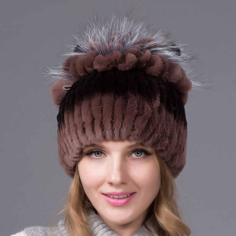 2018 echt Rex kaninchen pelz frauen hut fuchs haar blume mantel zubehör winter plüsch hut damen stricken größe casual damen hut