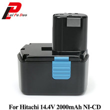 נטענת כוח כלי סוללה עבור Hitachi 14.4 v 2000 mah NI-CD עבור DS14DVF3 EB1414S EB1412S EB1414 EB1414L CJ14DL DH14DL(China)