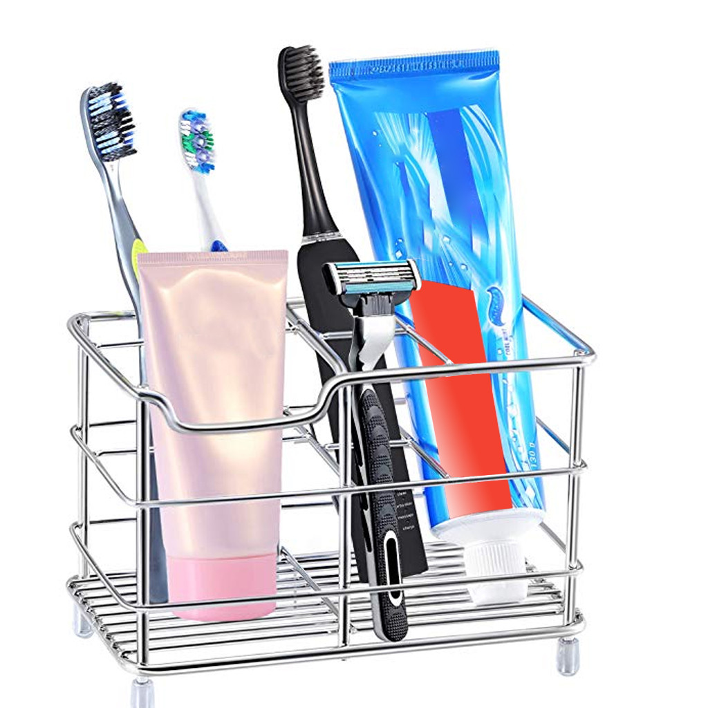 Stainless Steel Toothbrush Holder Toothpaste Holder Bathroom Organizer Stand