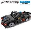 Estación de policía swat sport car soldados militares serie 3d bloques de construcción modelo compatible con lego city boy manías del juguete de regalo
