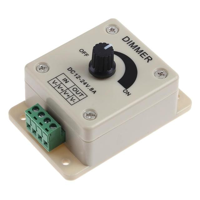 LED Dimmer Switch 12-24V 8A Adjustable Brightness Lamp Strip Driver Single Color Light Power Supply Controller