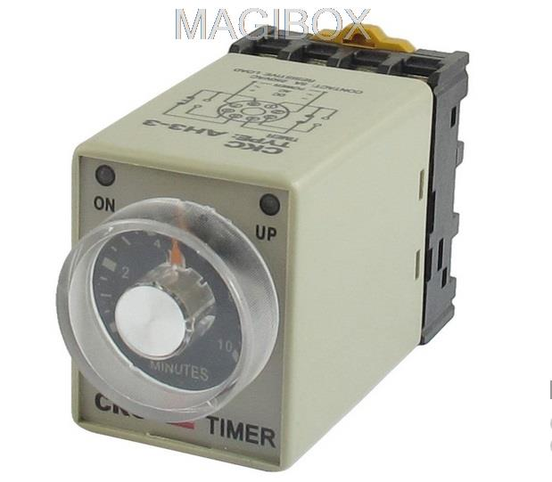 IC timer AH3-3 110VAC Power On Delay Timer Time Relay + Socket 220vac 110vac 24vac 12vac 24vdc 12vdc power on delay timer time relay 0 30 second ah3 3