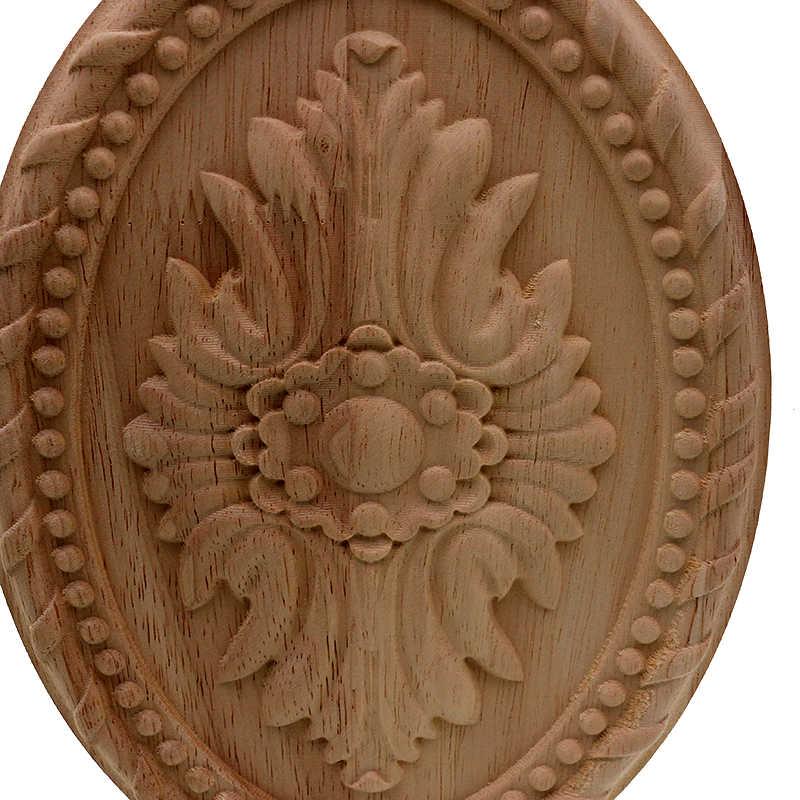 VZLX Dcarving Furniture Dekorasi Gaya Eropa Kayu Solid Putaran Applique Jantung Dekoratif Bunga Miniatur Patung-patung