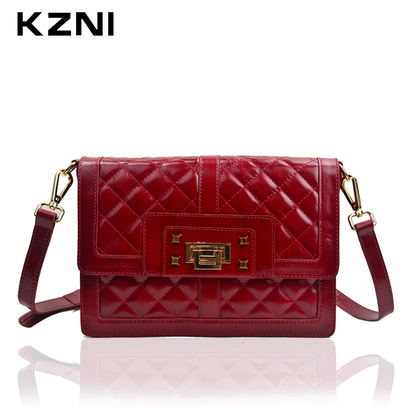 KZNI Women Messenger Bags Female Purses and Handbags Genuine Leather Crossbody Shoulder Clutch Bags Bolsas Femininas 1205 kzni genuine leather cowhide clutch shoulder bags for women bag genuine leather purses and handbags female femmes sac 9069