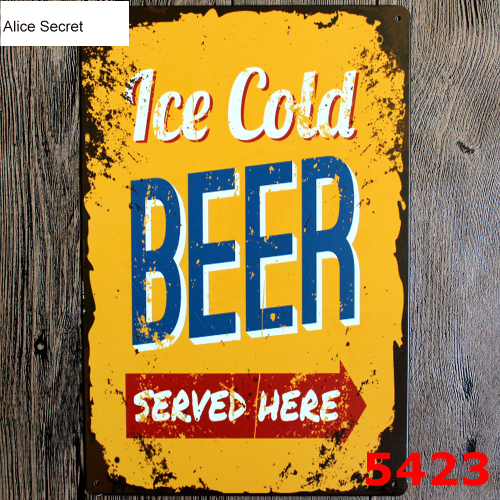 Bar Beer Metal Plates Vintage Metal tin signs Wall art craft ...