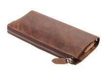 8048B J.M.D Classic Brown Men's Leather Clutch Bag Wallet