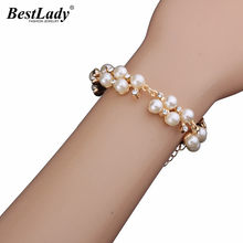 Best lady Fashion Jewelry Beads Luxury Simulated Pearl Bracelets Bangles Boho Brand Hot Cheap Women Bracelets Wholesale 4297(China)
