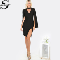 Sheinside Black Choker Neck Split Sexy Bodycon Dress Women S V Neck Cut Out Long Sleeve