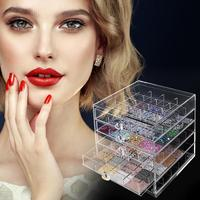 100 Grid Acrylic Makeup Organizer Storage Box Cosmetic Lipstick Jewelry Nail Display Holder Stand make up