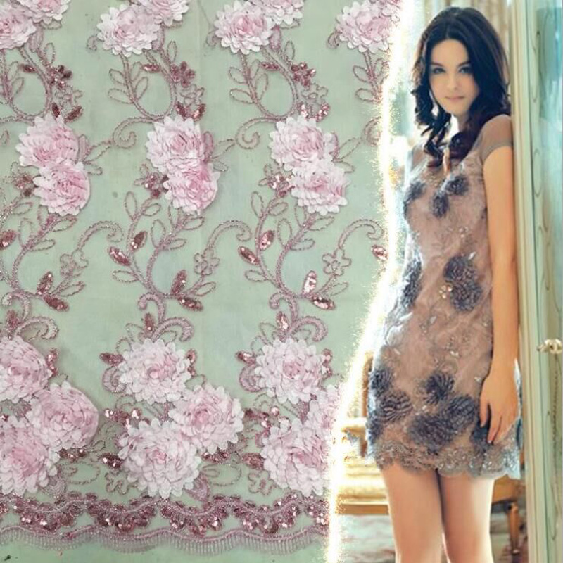 Lace stitching gauze sequin dress