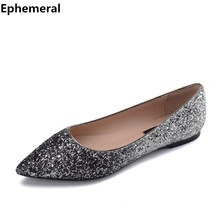 Females Sequined Cloth Bling Pointy Toe Flats Rubber Sole Black White Grey Wedding Shoes Larger Wide Foot Sizes 15 45 34