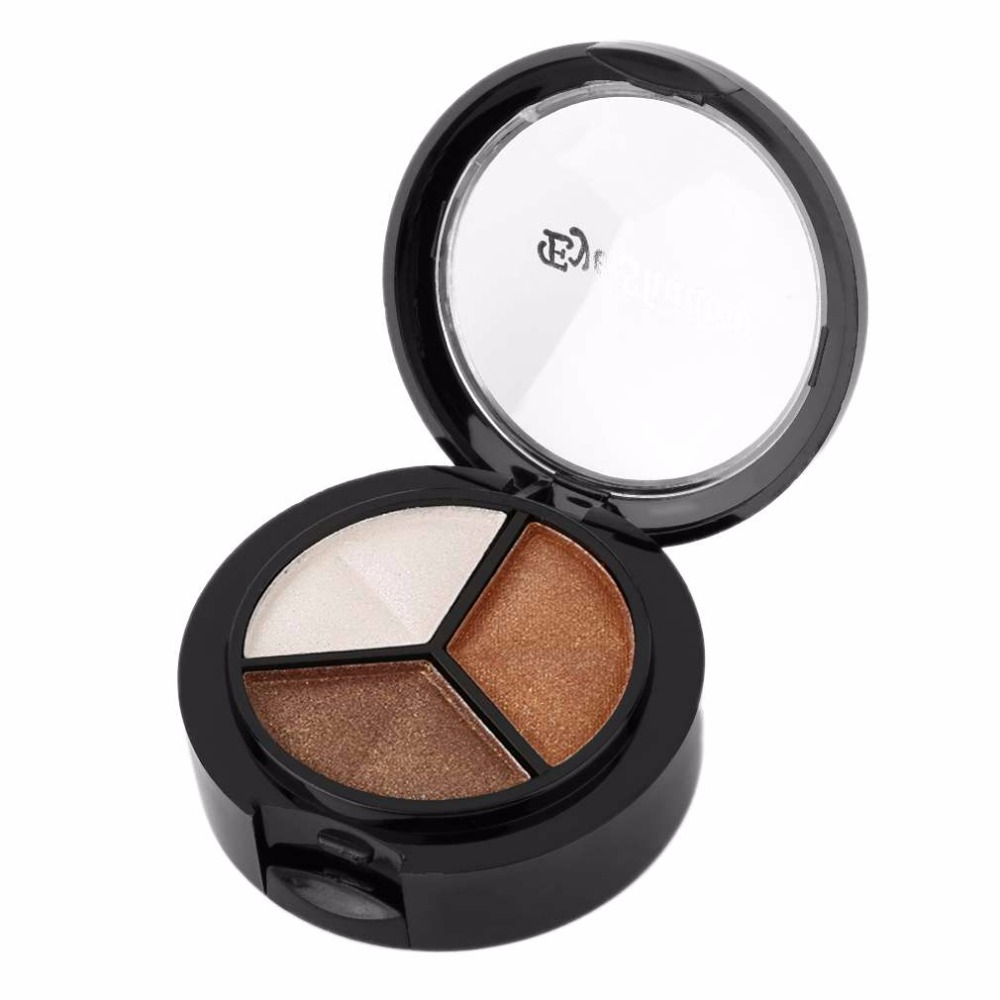 3 Colors Eyeshadow Makeup Palette Brighten Fine Powder Smoky eyes Metal Naked Nude Eye Shadow Cosmetic brush & mirror worldwide thumbnail