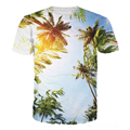 New Spring Summer T-Shirt 3d Print T Shirt Sunny Blue Sky Coco Tree Fashion Clothing Tees Chemise Camisas For Unisex Women Men