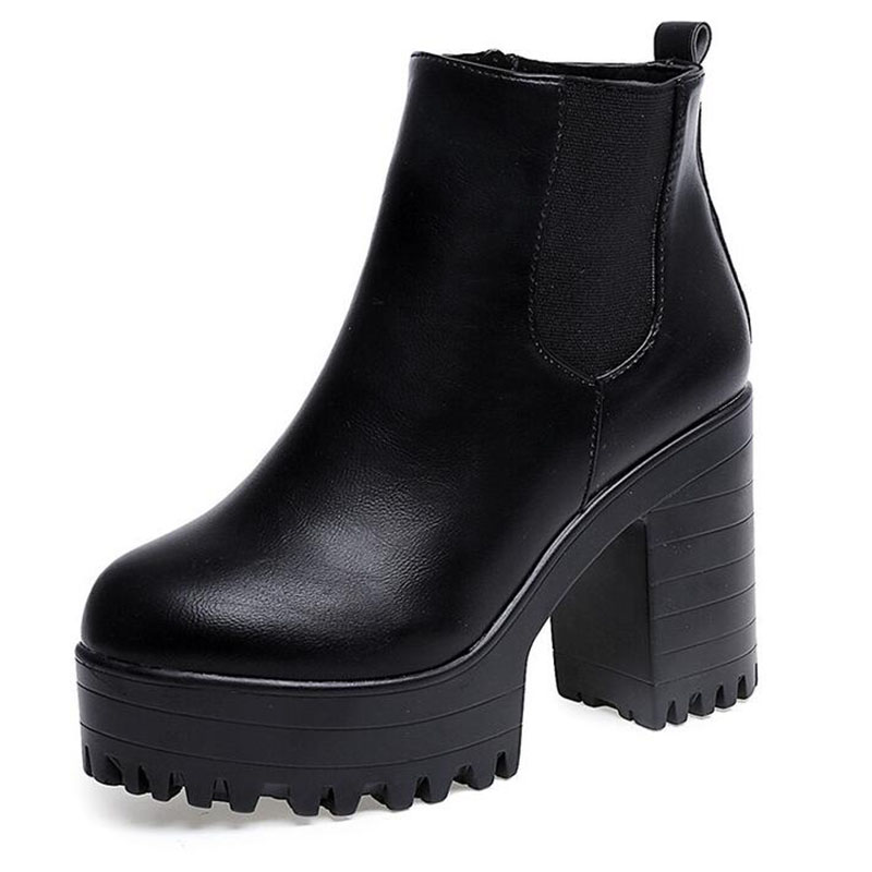 f0b95372838d COVOYYAR 2019 Vintage Platform Chunky Heel Ankle Boots Women Spring Autumn  Fashion Booties Woman Shoes Black Red Size 40 WBS279