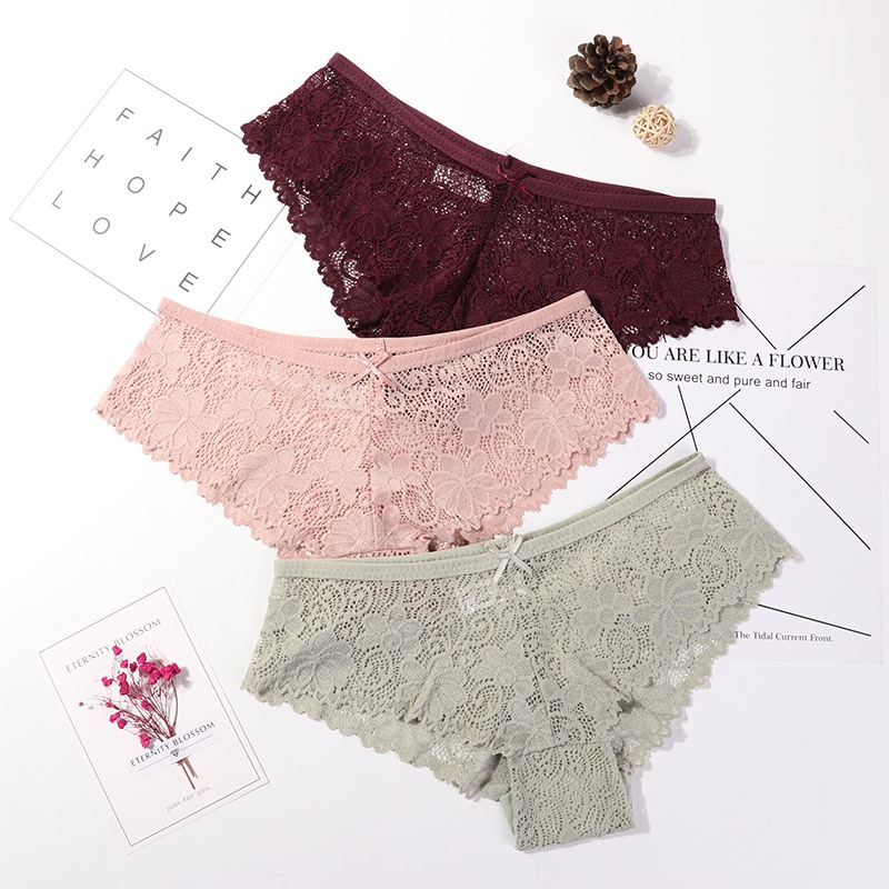 3 Pcs Panties For Woman Underwear Sexy Lace Breathable Female Panty Hollow Transparent Briefs Sexy Women's Underpants M-2XL 2019
