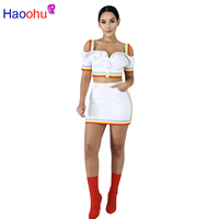 HAOOHU Denim Two Piece Set Dress Tracksuit For Women Buttons Up Short Sleeve Crop Top+ Rainbow Striped Mini Skirt Bandage Dress