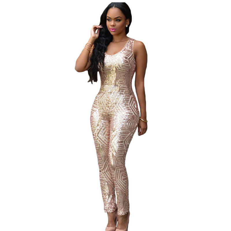 Popular Gold Geometric Sequin Jumpsuit-Buy Cheap Gold Geometric ...