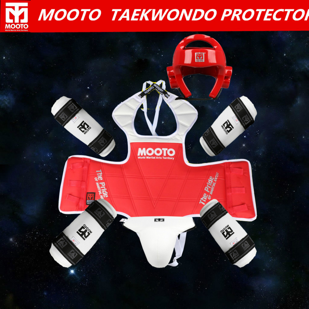 mooto brand Adult kids taekwondo thickening wtf taekwondo protection 5pcs taekwondo protector chest protector karate helmet mooto taekwondo red blue chest guard vest protector body gear wtf kta approved chest protector adult kids tkd protector guards