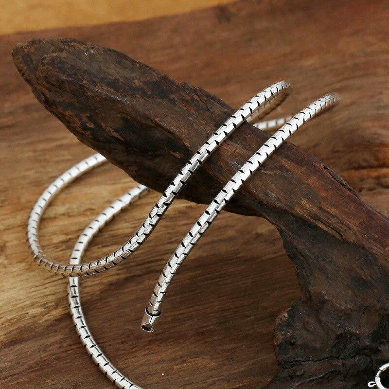 Starfield S925 Sterling Silver Retro Thai Silver Punk Style Chiang Mai Handmade 3mm Snake Bone Necklace Men Women