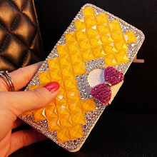 New 6 Style Bling Bling Rhinestone Luxury leather holster for Huawei P9 Series case for Huawei