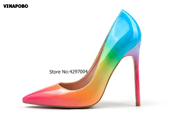 Fashion Sexty Stiletto Pumps 2018 Rainbow Shallow Designer Zapatos Mujer 8cm 12cm High Heels Sandals Party
