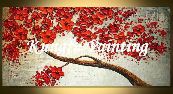 Tex1091 handmade palette knife painting texture tree wall - Oil painting ideas for living room ...