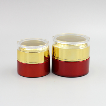 High Quality Cosmetic Jar,30g Red Glass Jar with Gold/Matte Gold/Silver/White Acrylic Cover