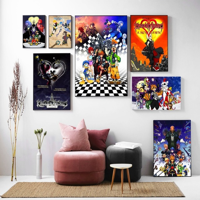Kingdom Hearts Cartoon Remix Design Posters And Prints Canvas Art Painting Wall Pictures For Living Room Decoration Home Decor