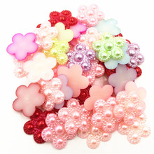 50Pcs Mixed Cameo Cabochon Decoration Flower Dot Resin Flat Back Fashion Jewelry DIY Findings 17mm