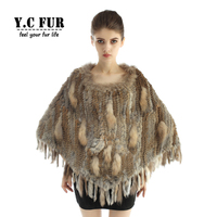 YCFUR Women Shawl Poncho Winter Knit Rabbit Fur Stoles Shawls with Raccoon Fur Trims Real Fur Scarves Ponchos Women