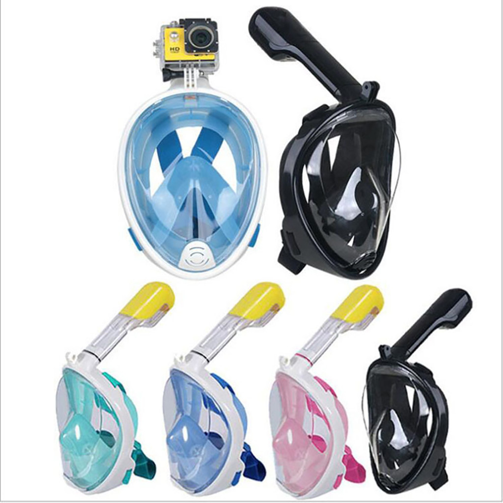 Adults Kids Diving Mask Snorkel Anti-fog Mask Full Face Panoramic View Snorkeling Mask Swimming Mask Easy Breath Dry Top Set
