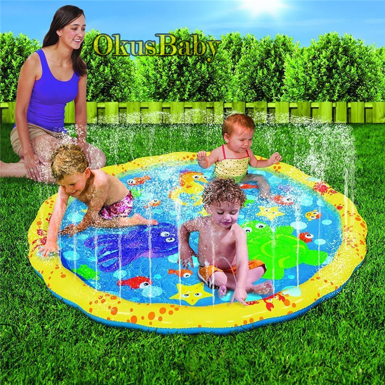 100cm Summer Inflatable Children's Outdoor Play Water Games Beach Mat Spray Water Lawn Sprinkler Cushion Toys Pad Fun For Baby