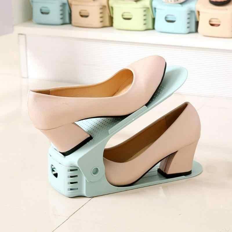 Durable Einstellbare Schuh Veranstalter Schuhe Unterstützung Slot Platzsparende Schrank Schrank Stehen Schuhe Lagerung Rack Schuhkarton