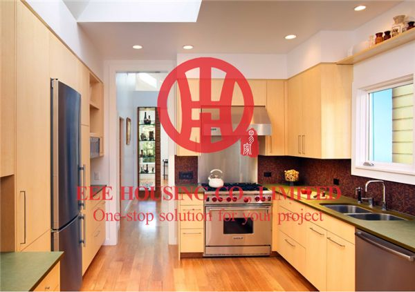 Customized Modern Laminated Wood Grain Color Kitchen Cabinet With Excellent Design And Quality MOQ Is 1 Set & Sipping By Sea