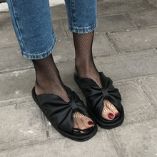 superstar summer shoes woman comfort flat slippers fashion butterfly knot leather sandals casual women slides black white