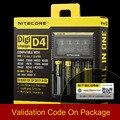 Original Nitecore D4 Digicharger Display LCD Inteligente Carregador de Bateria para Bateria Recarregável Li-ion 18650/14500/16340/26650