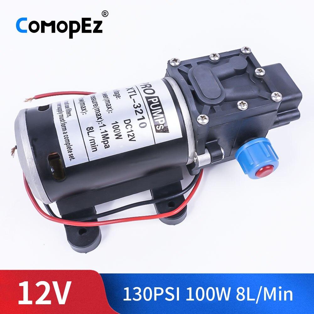 DC 12V 100W 130PSI 8L/Min eau haute pression pompe à membrane auto-amorçante pompe Booster commutateur automatique pour Wagon de jardin Camper