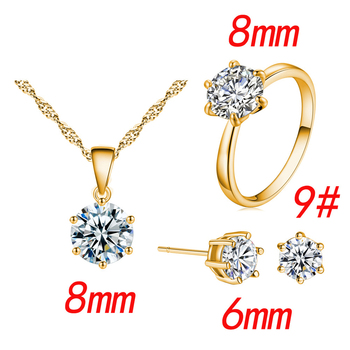 Fashion Silver Color Cubic Zircon Jewelry Sets Hot Promotions Jewelry Jewelry Sets Women Jewelry Metal Color: Yellow Ring Size: 9