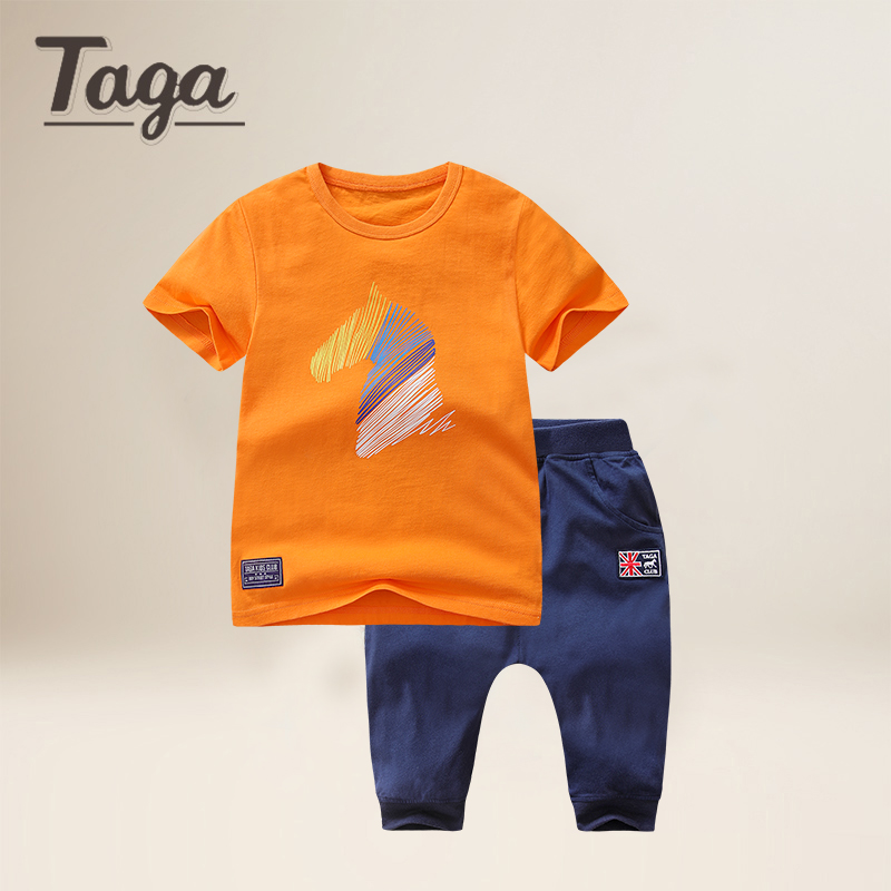 TAGA High Quality Boys kids Clothing Set Horse Cartoon Short Sleeve T-Shirts tops+ Pants Set Baby Children Clothing Sports Suits