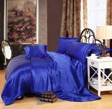 Silk bed sheet set queen size Bedding-set imitated silk bed set duvet cover set bed linen housse de couette came bedclothes Silk