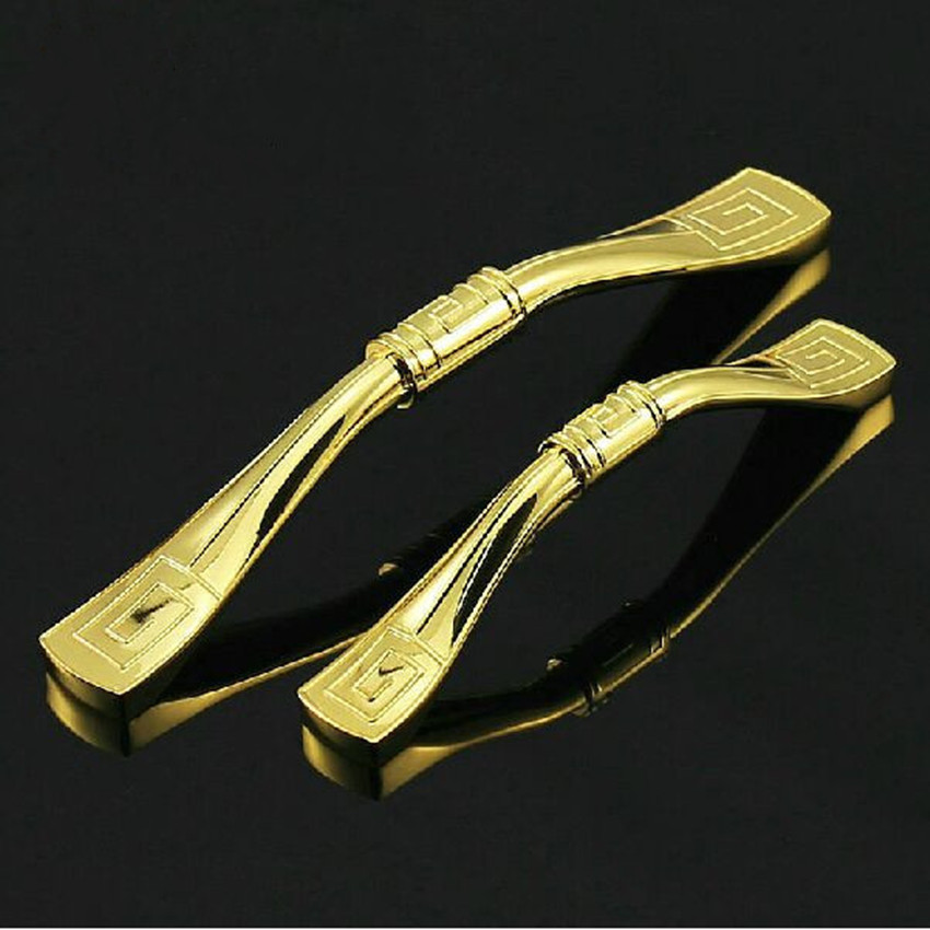 8e39f53b702d 128mm gabinete de cocina brillante oro cajón armario Muebles manijas  tirones perillas 96mm mangos de oro