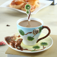 1 Set Color Enamel squirrel Coffee cups and saucers Coffee Cup Set Hand painted animals Teacup Set Drinkware Bone China Gifts