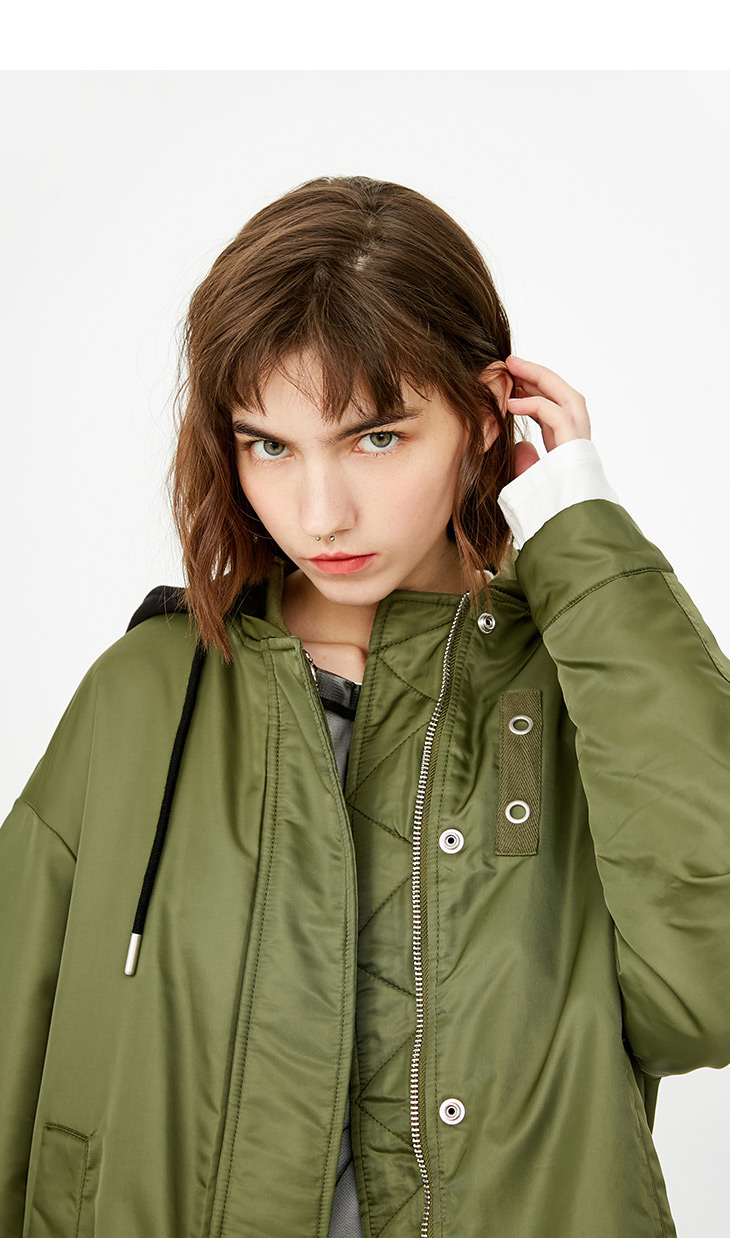 ONLY Women's Lace-up Hooded Cotton Coat |118122502 12
