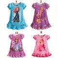 Лето Малыш Девушки Принцесса платье 2017 прекрасный София девушка малышей платье принцессы лето марка лук малышей одежда платье для девочки