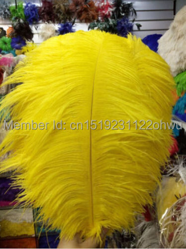 Promotional price 50pcs14 16 inches 35 40cm yellow ostrich feathers for large weddings and parties decorations