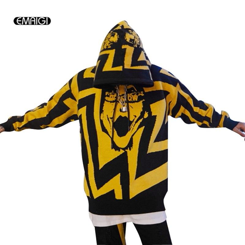Hommes Streetwear Hip Hop Mode pullover décontracté À Capuche Pull Manteau Mâle Motif Tricoté Pull Veste
